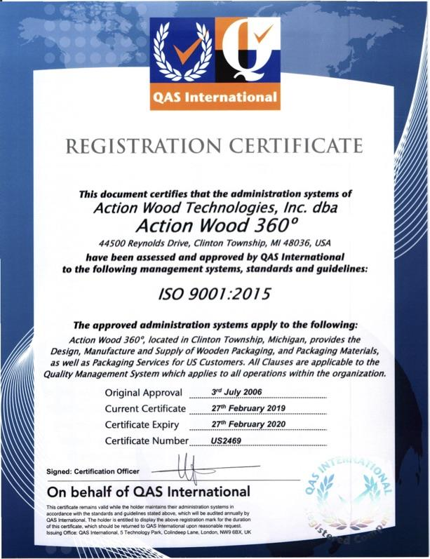 2019 ISO Certification